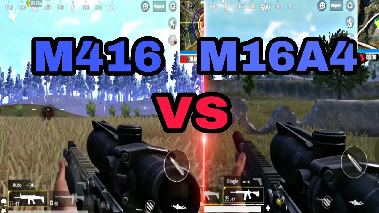 مقایسه اسلحه M416 و M16A4 در بازی پابجی موبایل