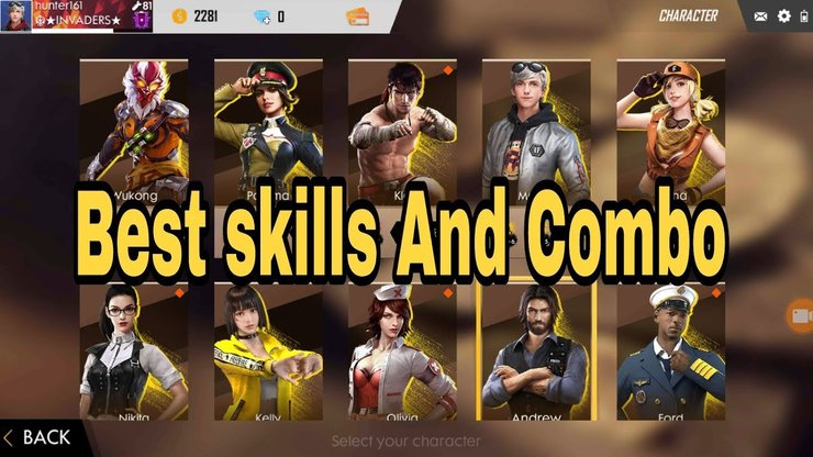 بهترین ترکیب کاراکتر در بازی فری فایر free fire